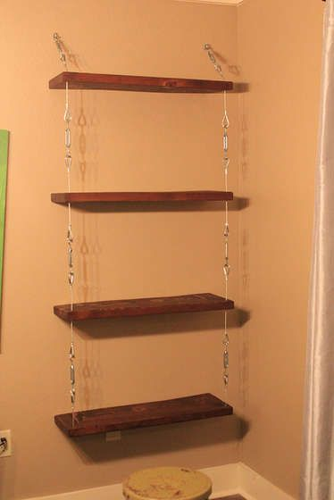 How To Make Suspended Shelves With Steel Cable And Turnbuckles Suspended Shelves Glass Shelves In Bathroom Glass Shelves Decor