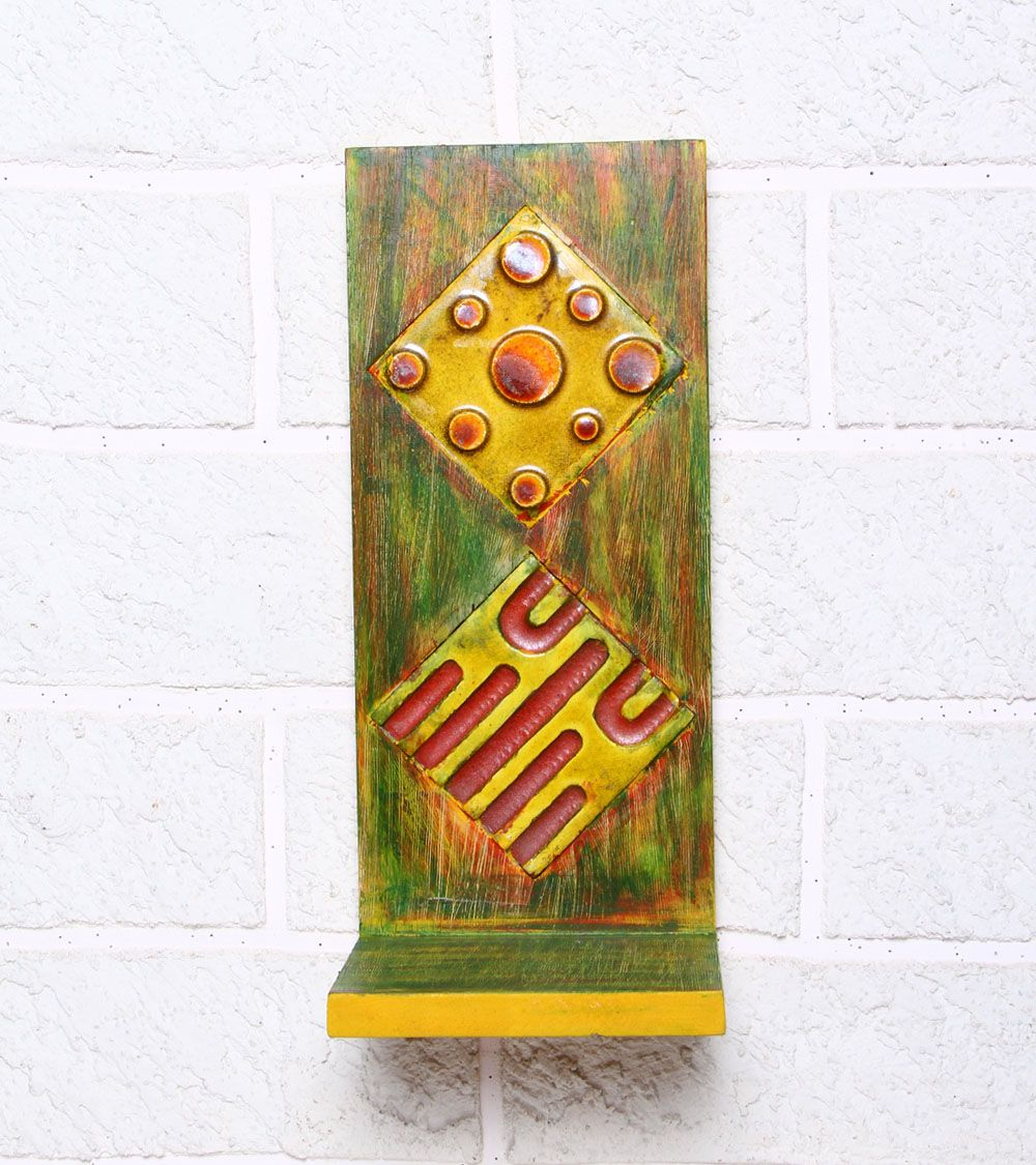 Yellow & Red Rubber Wood Stand #indianroots #homedecor #decor #stand #walldecor #wood
