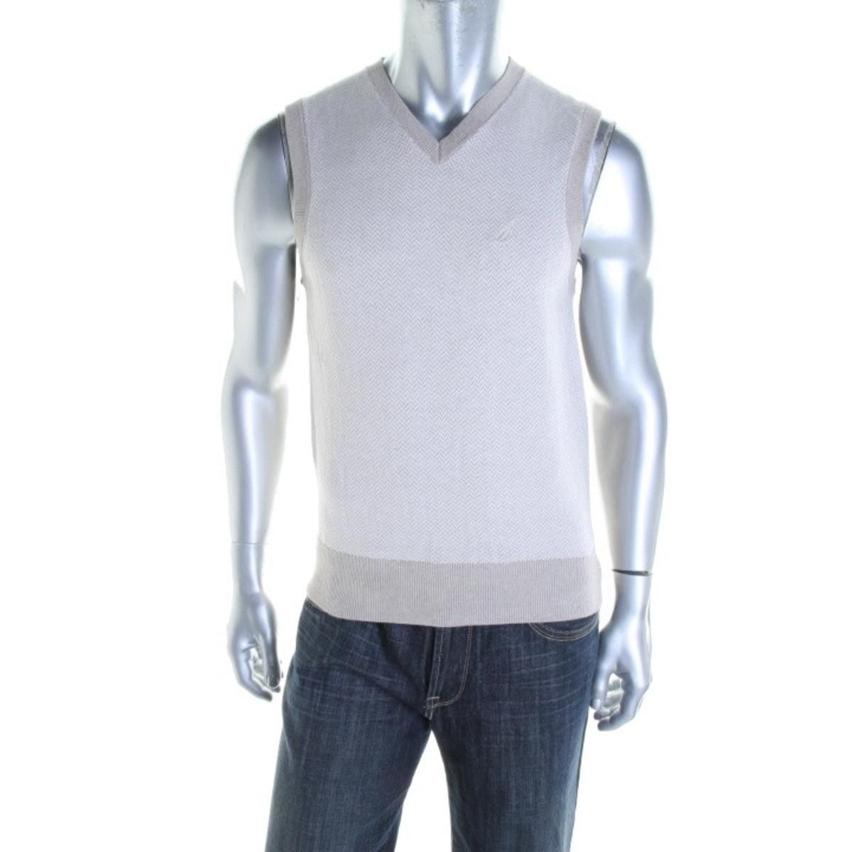 Nautica Mens Herringbone Sleeveless Sweater Vest | Cardigans For ...