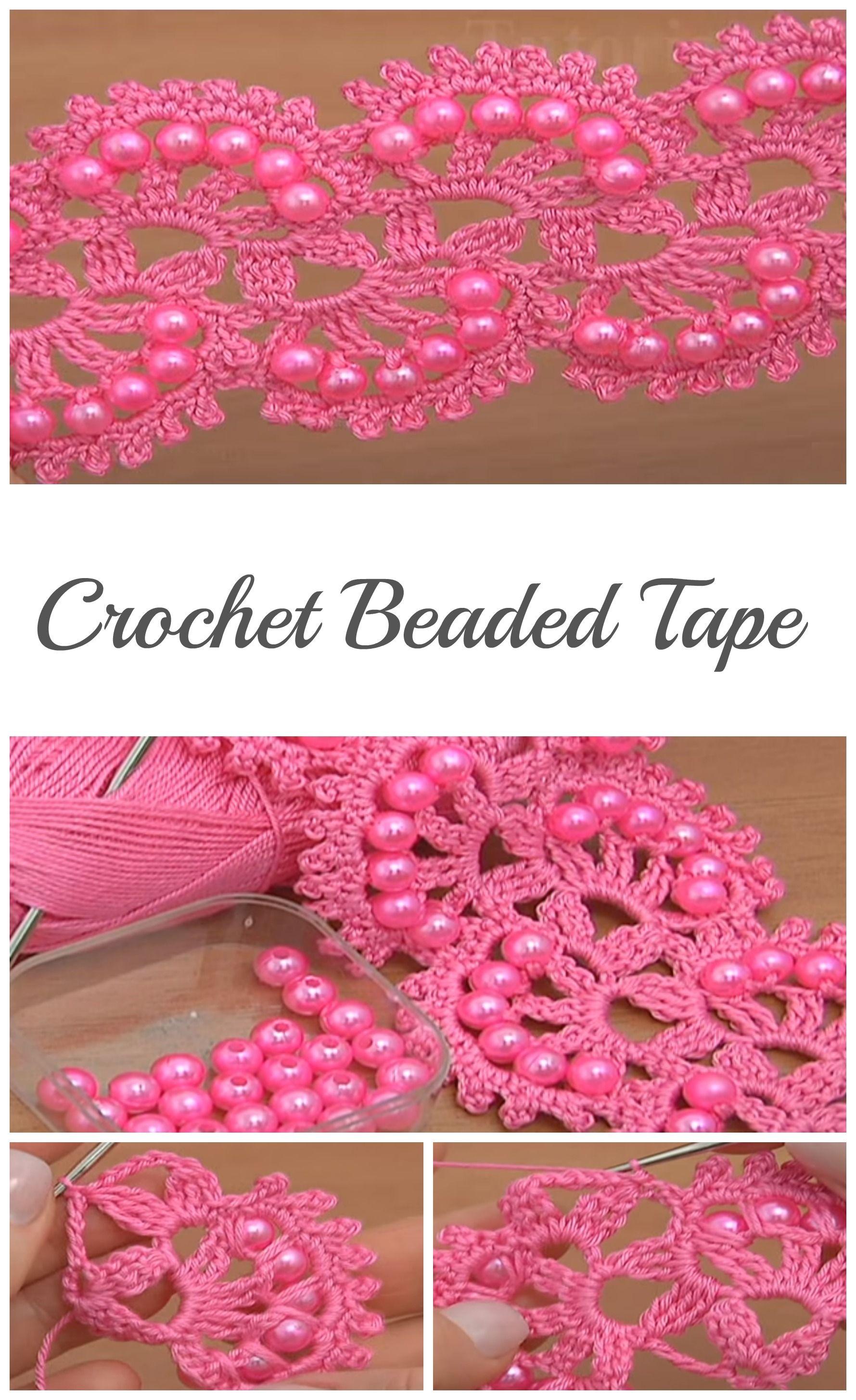 Crochet Beaded Tape – Video Tutorial   Crochet edgings borders ...