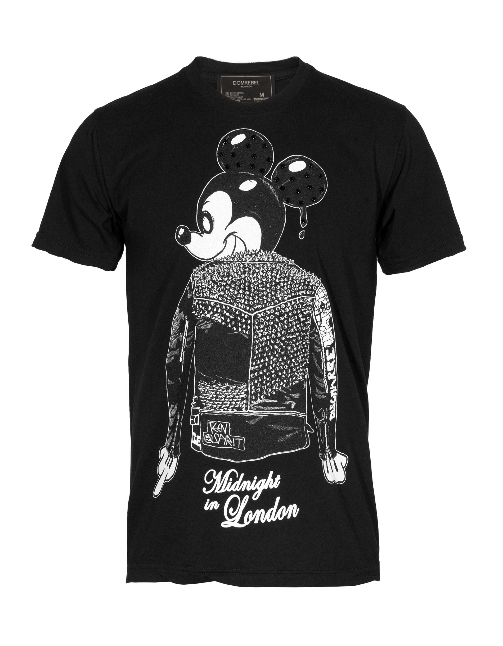 #DOMREBEL Midnight Mouse Black T-shirt with rhinestone details