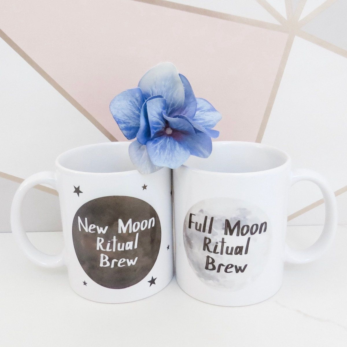 Full Moon / New Moon Ritual Mug Set #newmoonritual This set of 2 Full Moon / New Moon Ritual mugs make a lovely gift for a friend or yourself. They make a wonderful addition to your New Moon and Full Moon self care ritual/routine so, relax, sip your tea and set some beautiful intentions under the new and full moons.  Printed using Eco Friendly Vegan inks. #newmoonritual Full Moon / New Moon Ritual Mug Set #newmoonritual This set of 2 Full Moon / New Moon Ritual mugs make a lovely gift for a frie #newmoonritual
