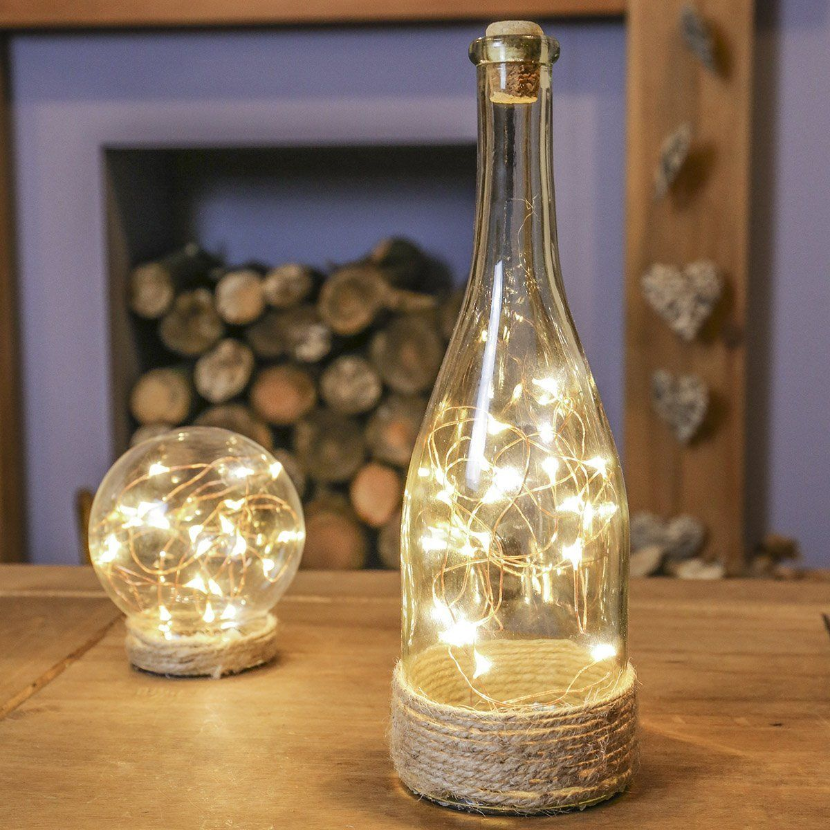 herbst weihnachtsdeko glas flasche mit kupferdraht led lichtern warmwei von festive lights. Black Bedroom Furniture Sets. Home Design Ideas