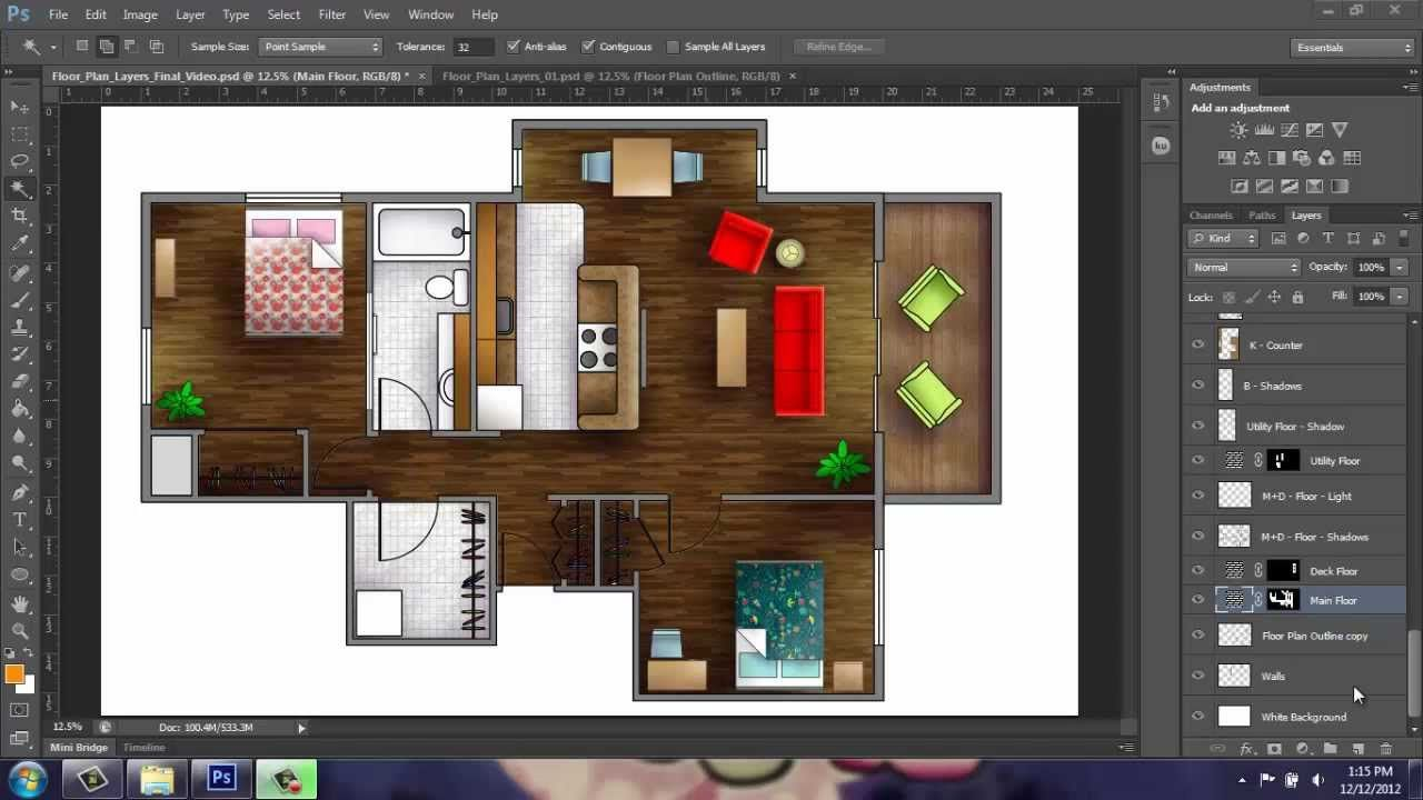 Adobe Photoshop CS6 - Rendering a Floor Plan - Part 1