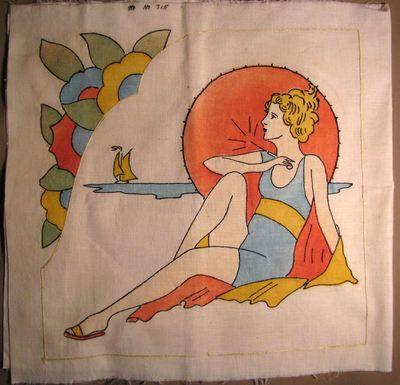Vtg Vogart Tinted Embroidered Pillow Cover Flapper Bathing Beauty | eBay