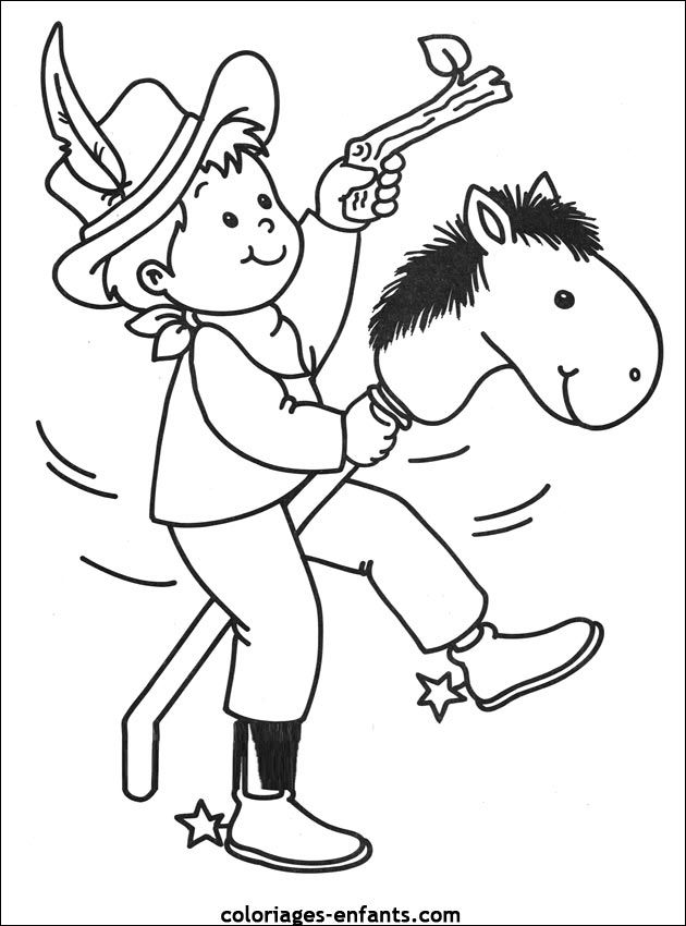 Les coloriages de cowboys far west pinterest - Dessin de cowboy ...