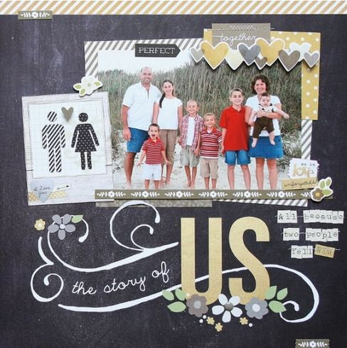 The Story of Us layout designed by Simple Stories design team