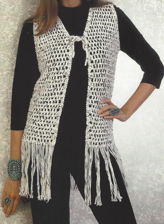 Crochet Retro Fringe Vest PATTERN, Womens Boho Vest Crochet Pattern ...