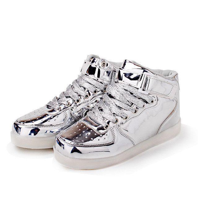 2017 Unisex gold Led Luminous Light Shoes Men Fashion USB rechargeable Light Led Shoes for Adult zapatillas deportivas hombre