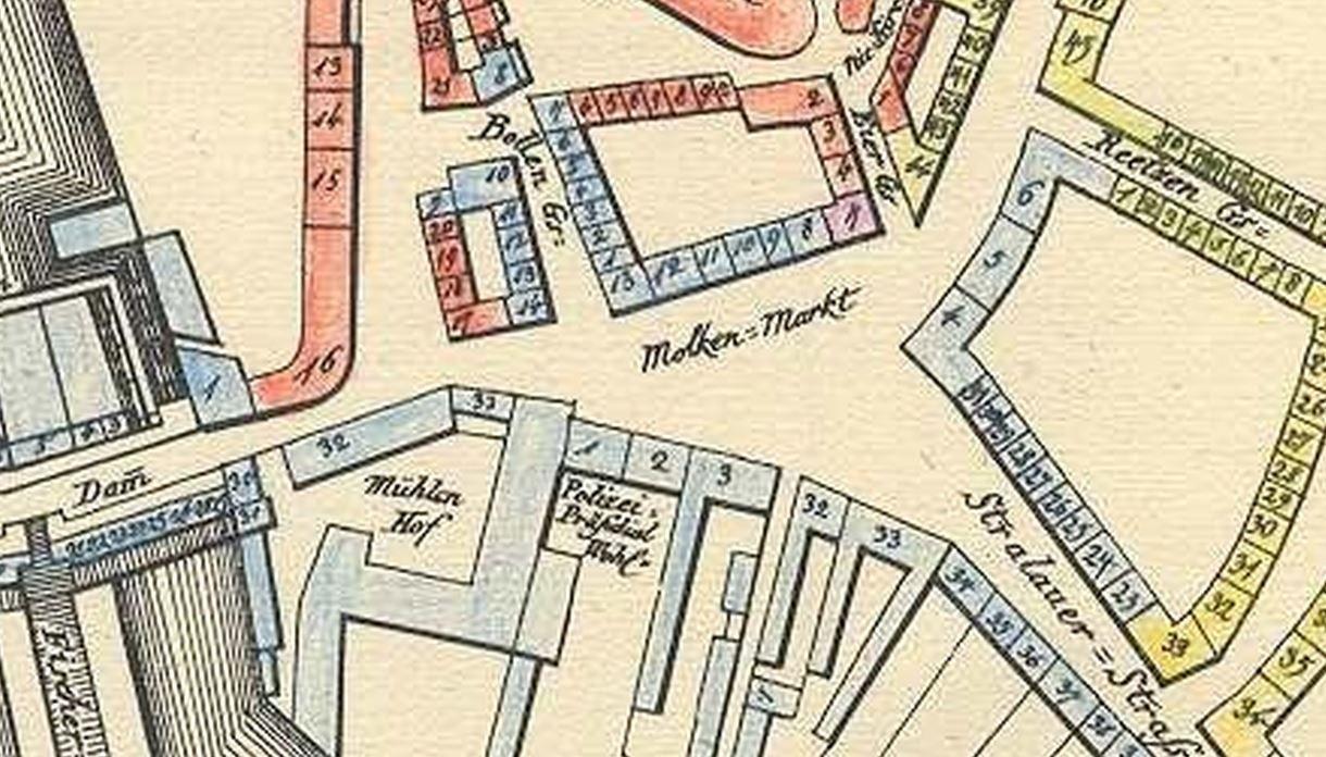 Karte Mit Hausnummern.Molkenmarkt 1812 Historische Karte Mit Den Hausnummern Alte Mitte