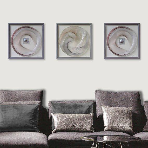 zen wall art set in warm gray abstract 3d string art sacred