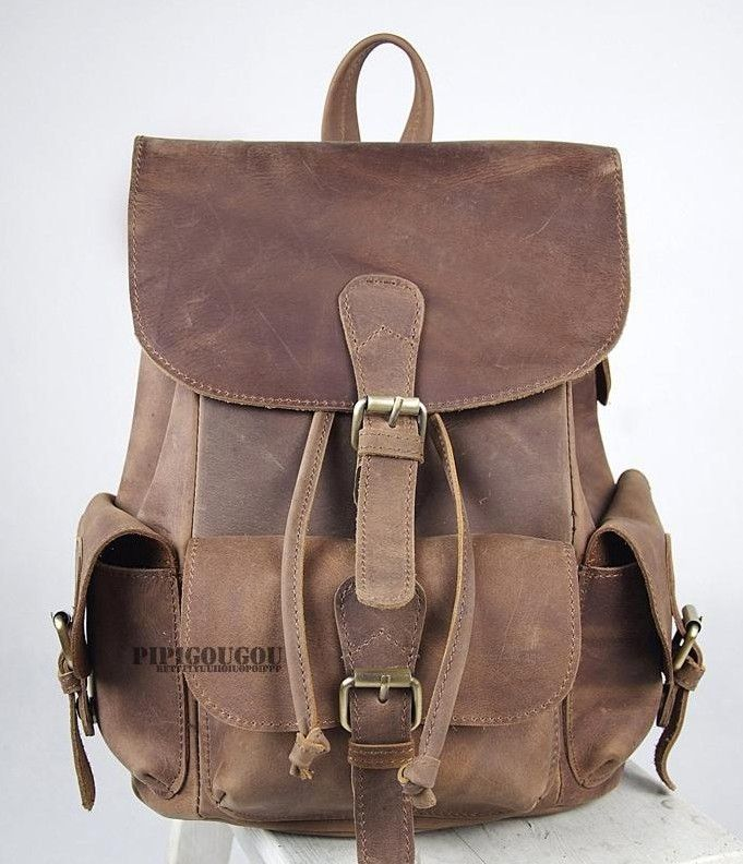 coffee womens leather backpack