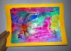 Wasserfarbe-Salz-Kleber Kunstwerk #sommerlichebastelarbeiten