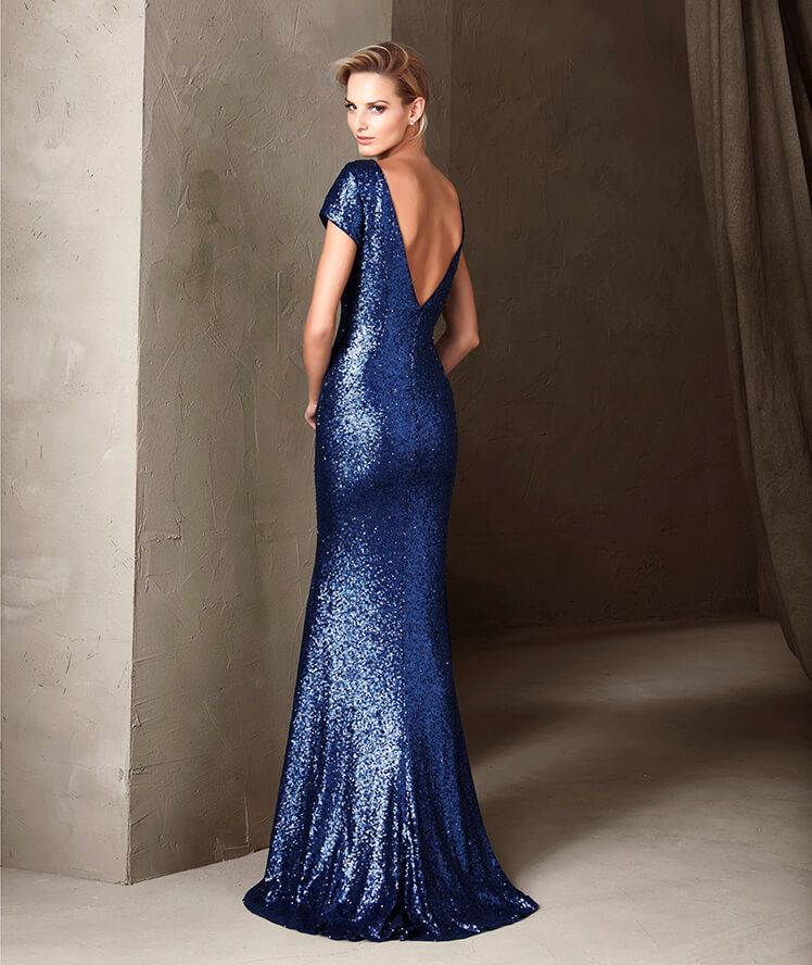 A stunning long party dress with a bateau