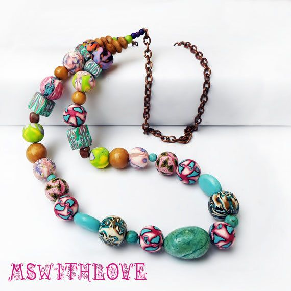 Hippie polymer clay necklace turquoise boho necklace by MSwithlove