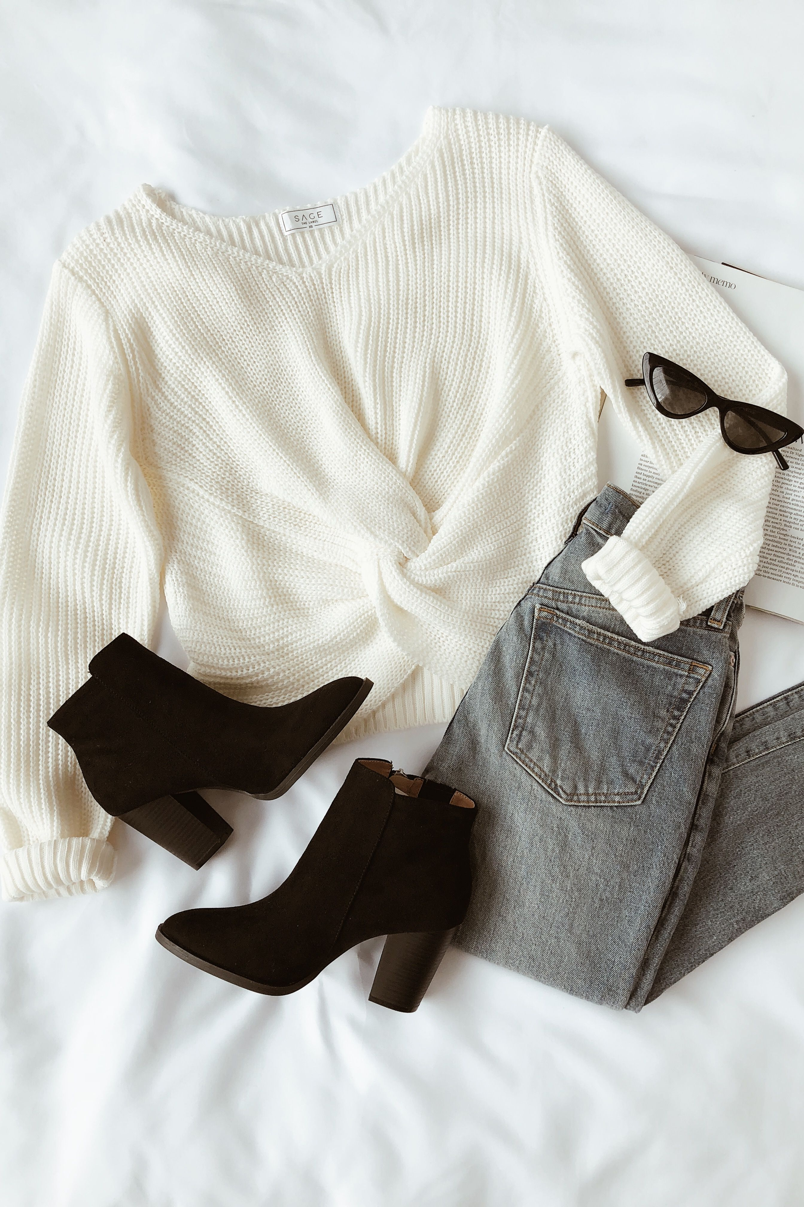 Hold You Close Cream Knotted Front Sweater #fallbeauty