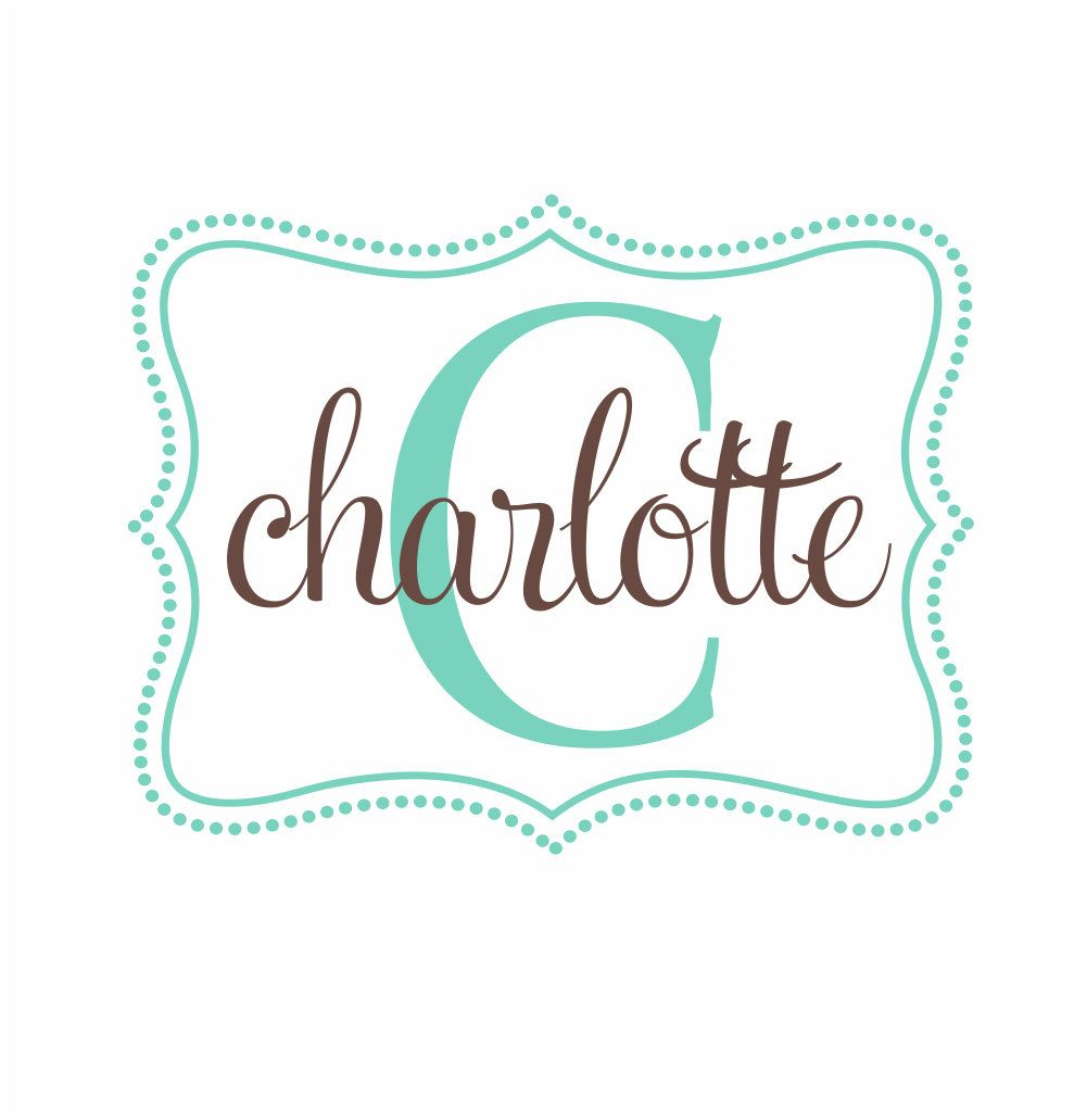 Name And Initial Vinyl Wall Decal Whimsical Border Personalized - Monogram vinyl wall decals for girls