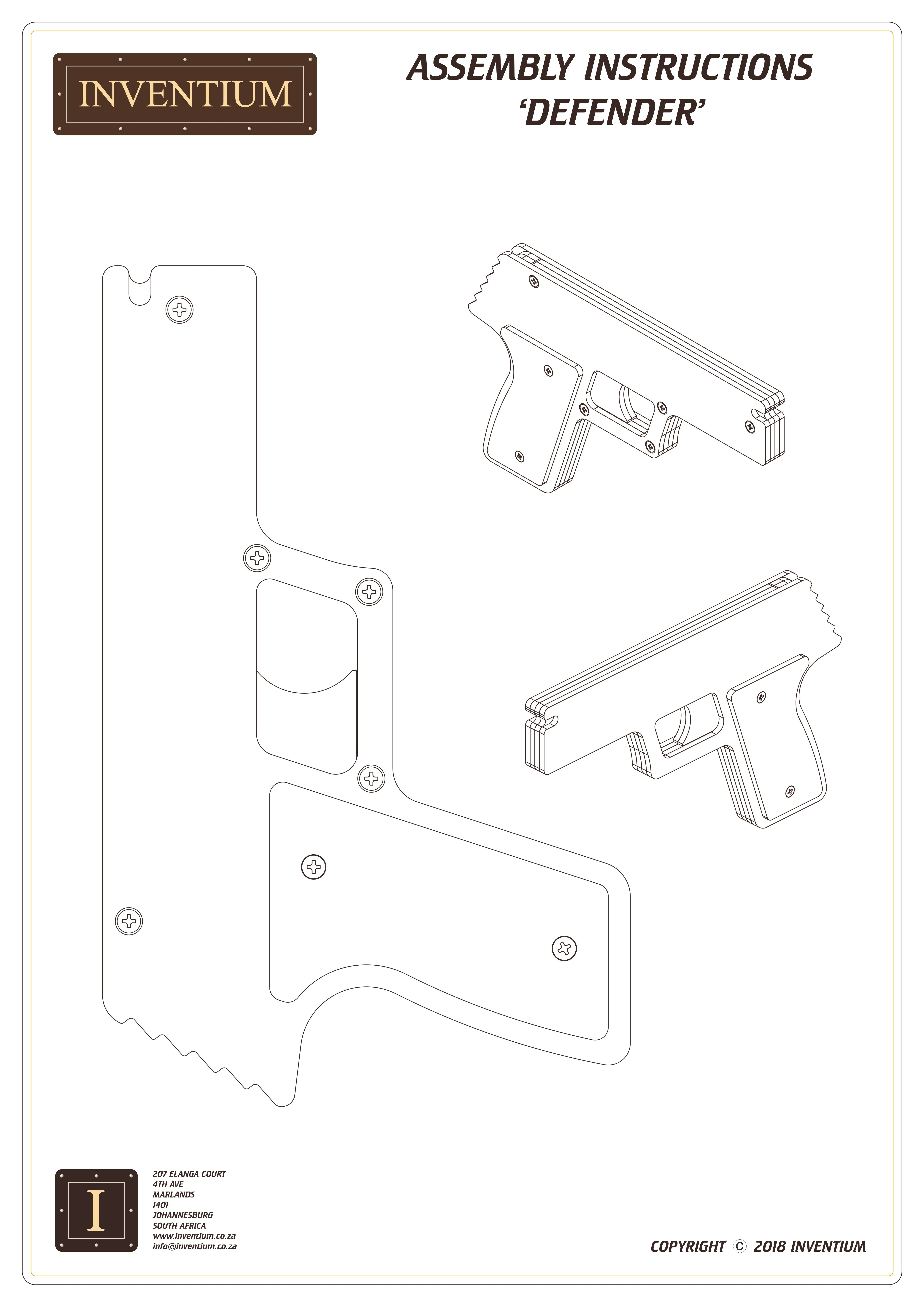Front page of the 'Defender' assembly instructions. Views