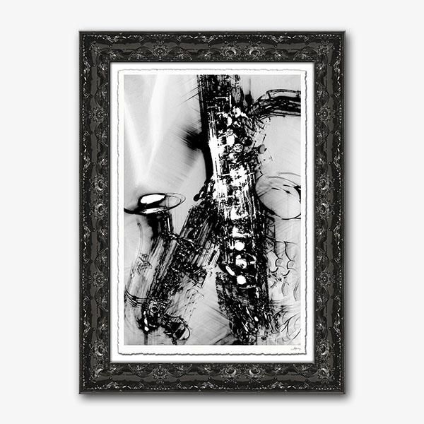 """Kalisher Gallery   Jazz Notes   The heart of jazz is depicted in this artwork - full of movement and life! Signature Series - Giclée print on hand-deckle edged fine art paper with signature, presented in an ornate 3 1/4"""" black frame. 35H x 25W #HPmkt"""