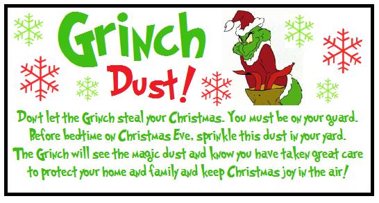 Grinch Dust Printable Label