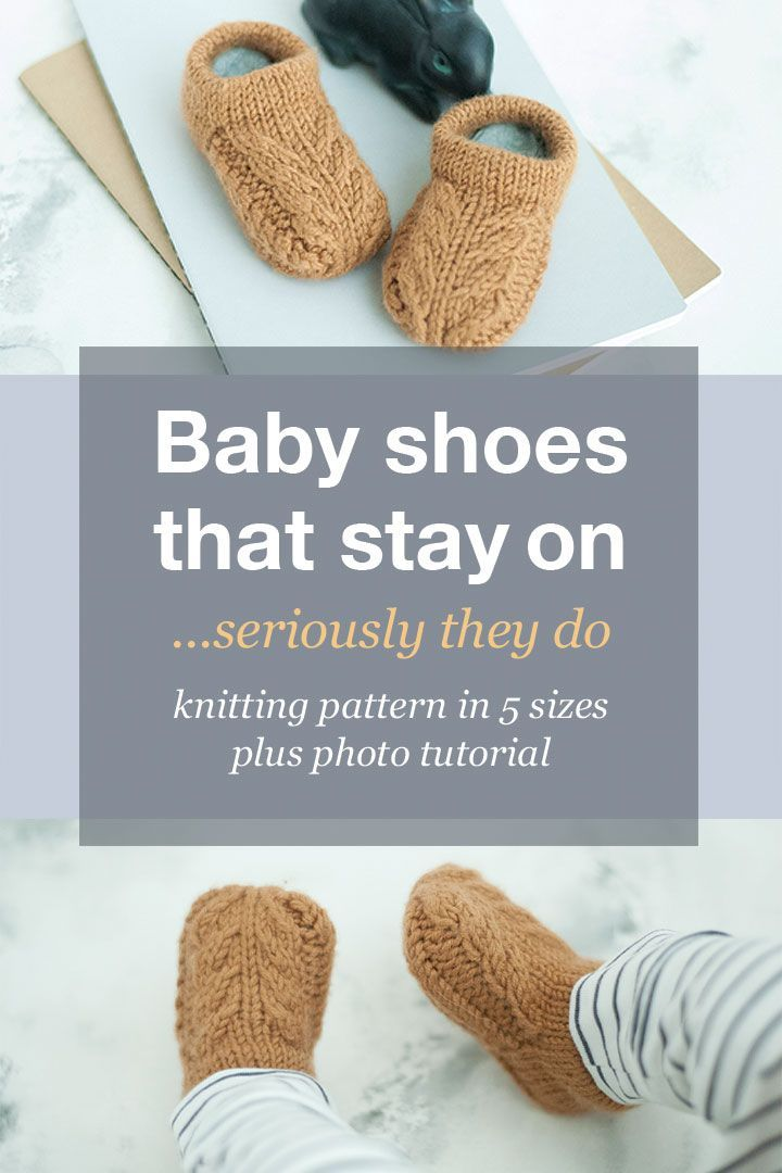 Knitted baby shoe pattern designed to stay on your babies little feet The pattern comes in 5 sizes from birth to 12 months No seams and minimal finishing you could knit a...