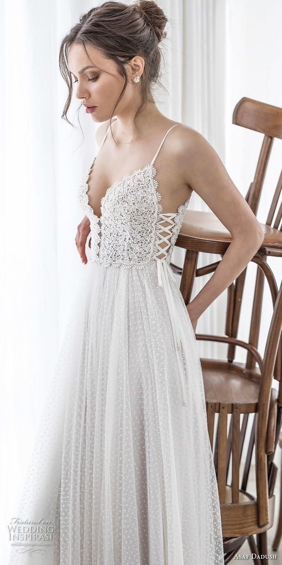 One strap wedding dress  asaf dadush  bridal sleeveless spaghetti strap deep sweetheart