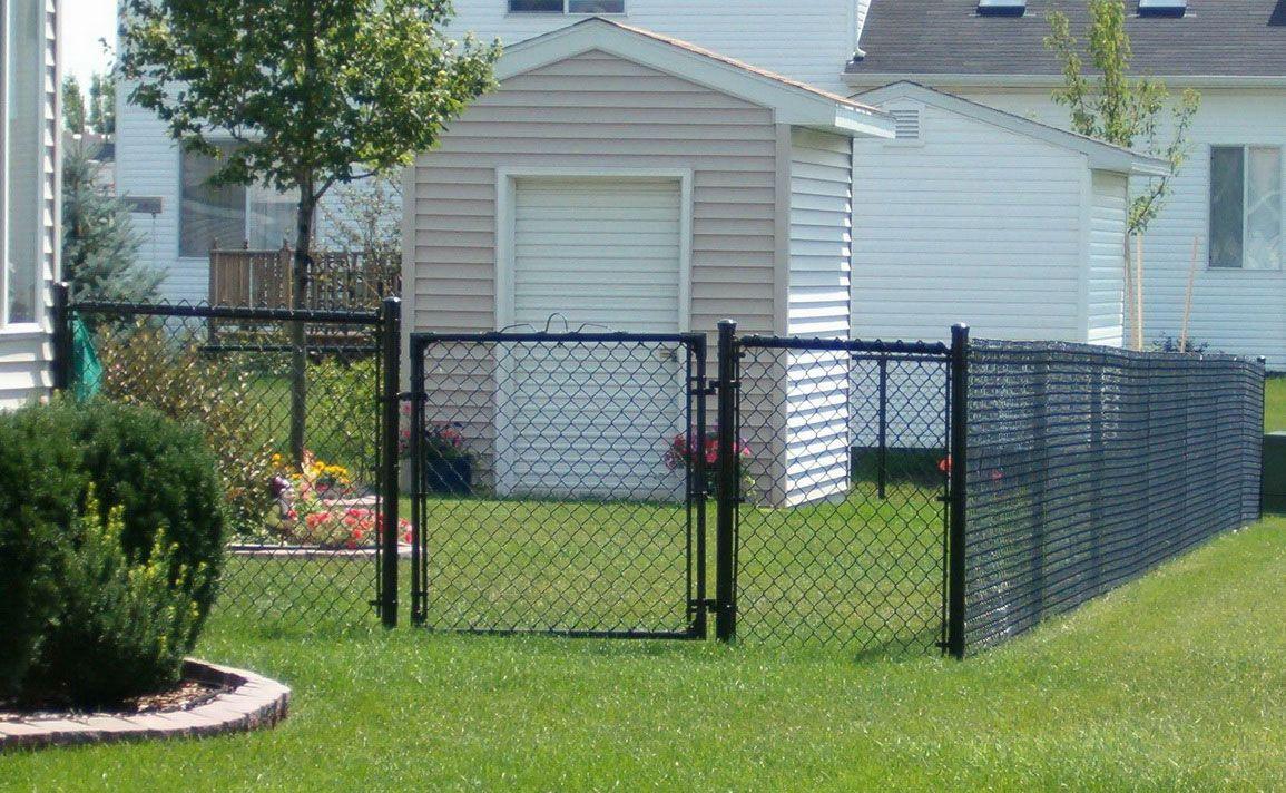 Yard Fence Ideas Backyard Black Vinyl Fence Black