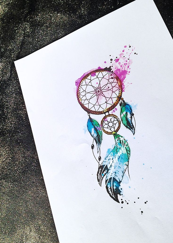 Dreamcatcher watercolor feather tattoo tattoo designs of for Watercolor dreamcatcher tattoo