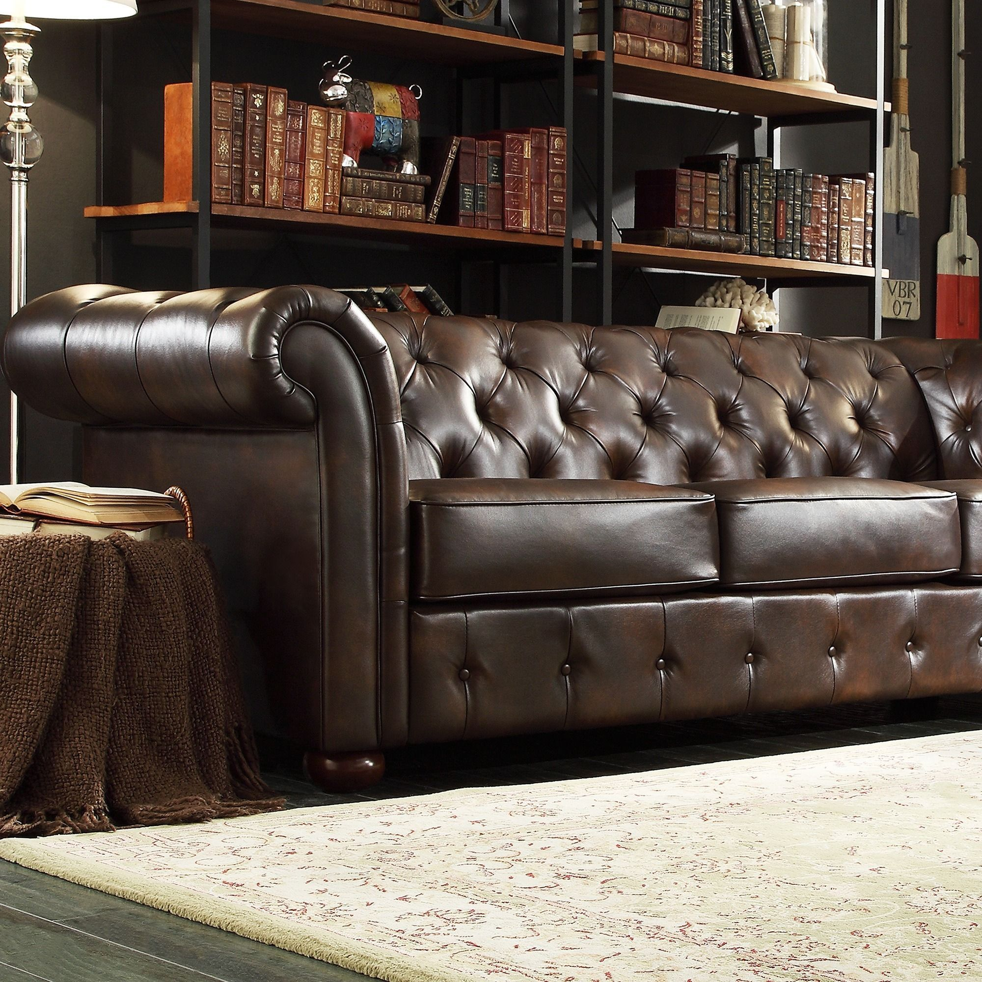 SIGNAL HILLS Knightsbridge Brown Bonded Leather Tufted Scroll Arm  Chesterfield Sofa by TRIBECCA HOME by INSPIRE Q