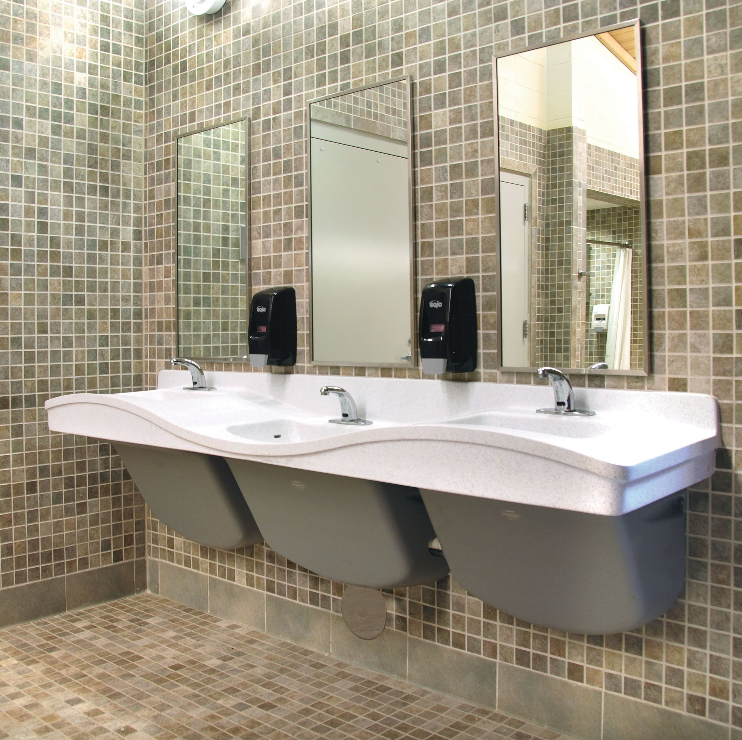 commercial bathroom tile with its patented design the multi height frequency 12406