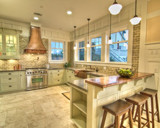 Attractive Copper Counters With Gray Backsplash (Natalie DiSalvo Via Houzz)