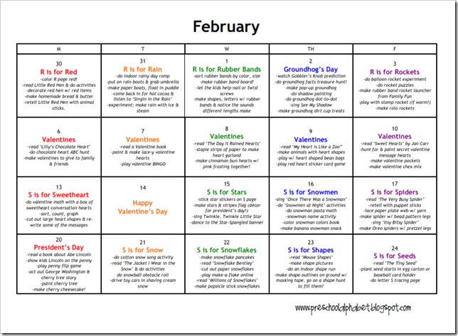 A Sample Preschool Activity Calendar That Focuses On One Letter