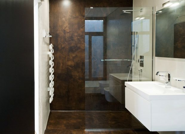 Brown White Modern Bathroom With Finished Concrete Budget Bathroom Bathroom Modern Bathroom