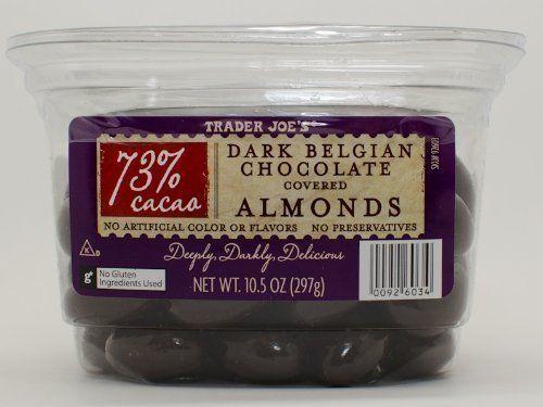 trader joe s 73 cocao dark belgian chocolate covered almonds chocolate covered almonds chocolate covered belgian chocolate pinterest