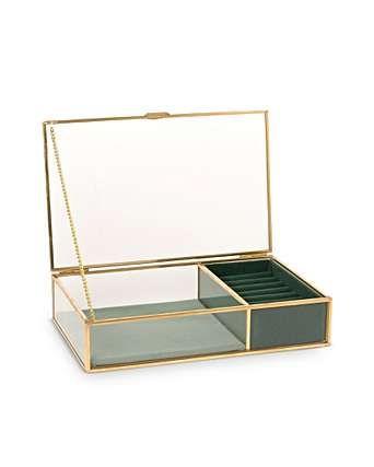 Gold & Glass Green Velvet Jewelry Box Small