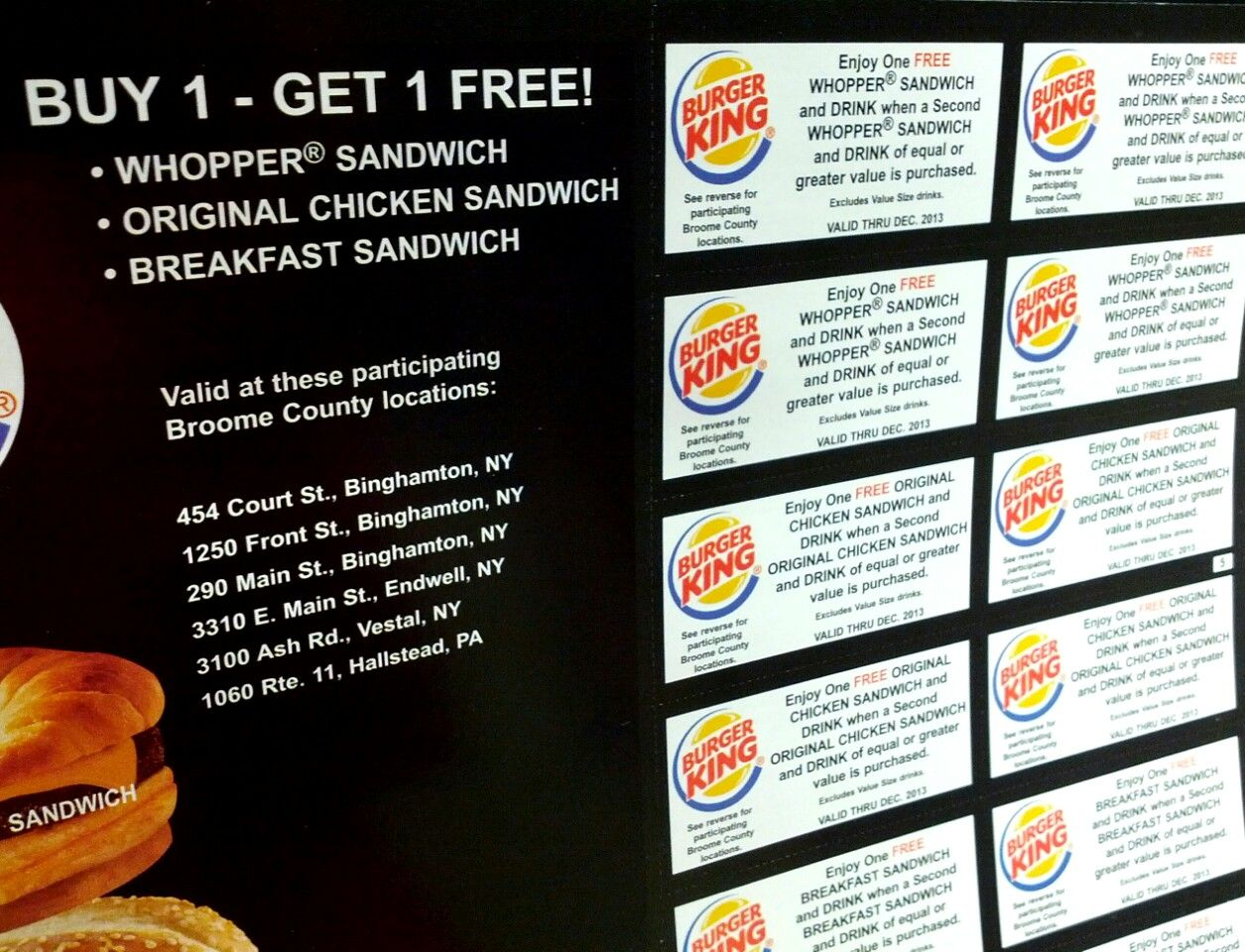 Burger King coupons from SaveAround Broome County 2013