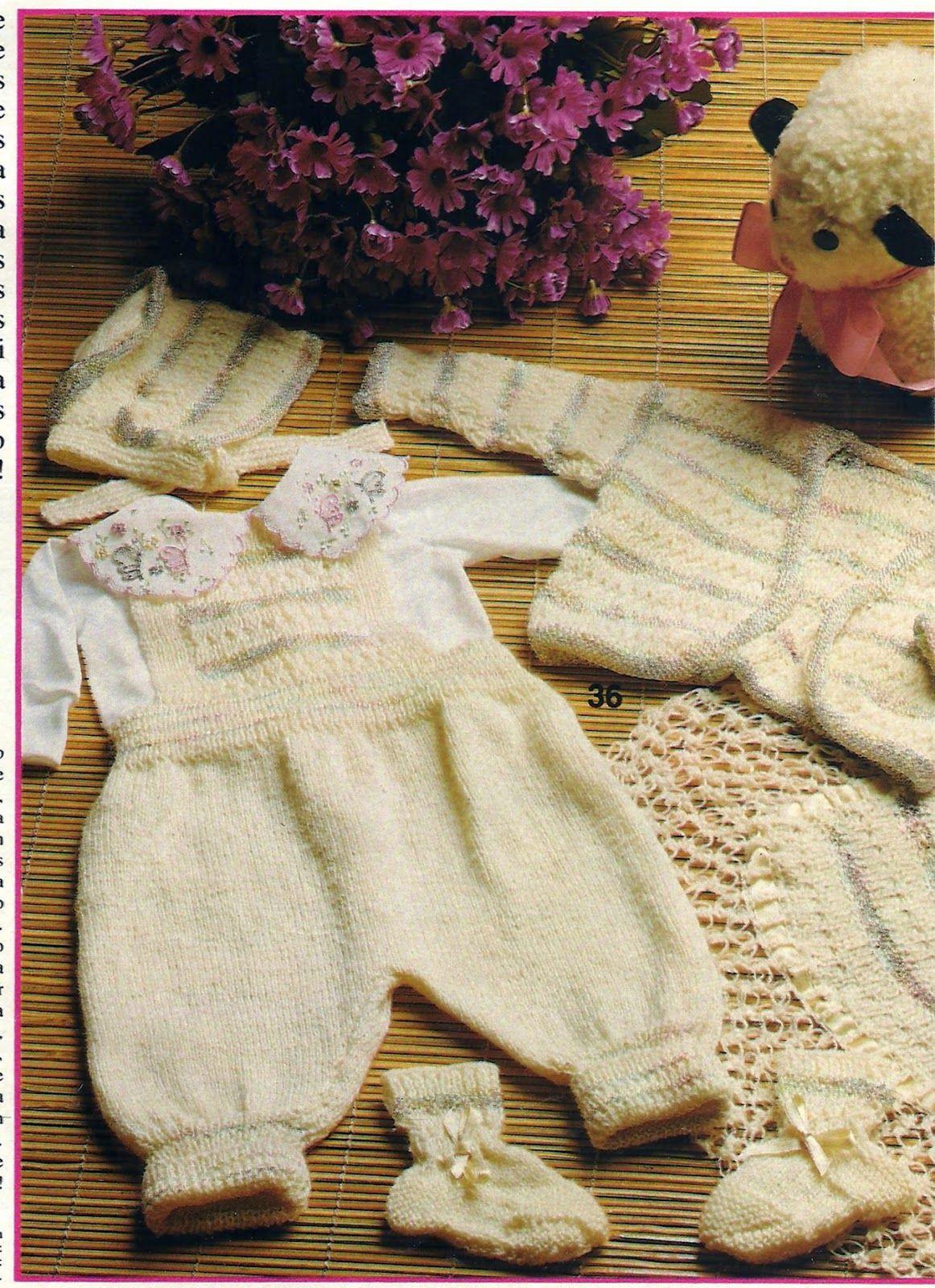 Receita Tricô Fácil Conjunto Perola Tricô para bebê Jardineira ...