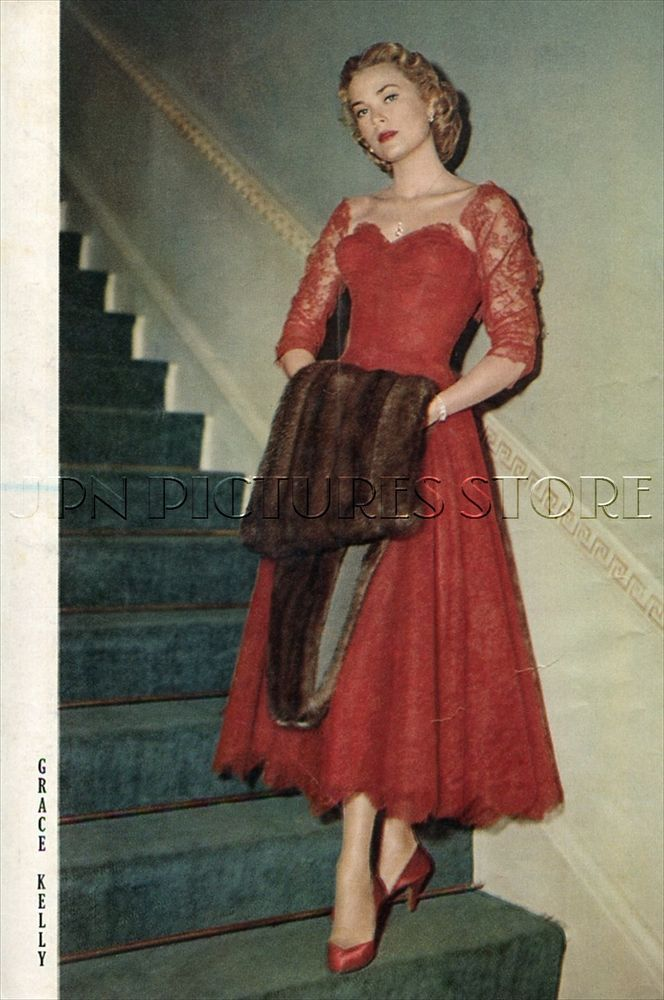 "GRACE KELLY with Fur 1955 Vintage JPN PICTURE CLIPPING 7x10"" #DF/Z"