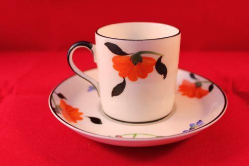 ART-DECO-HANCOCKS-CHINA-ENGLAND-HAND-PAINTED-COFFEE-CAN-SAUCER-DEMI-TASSE