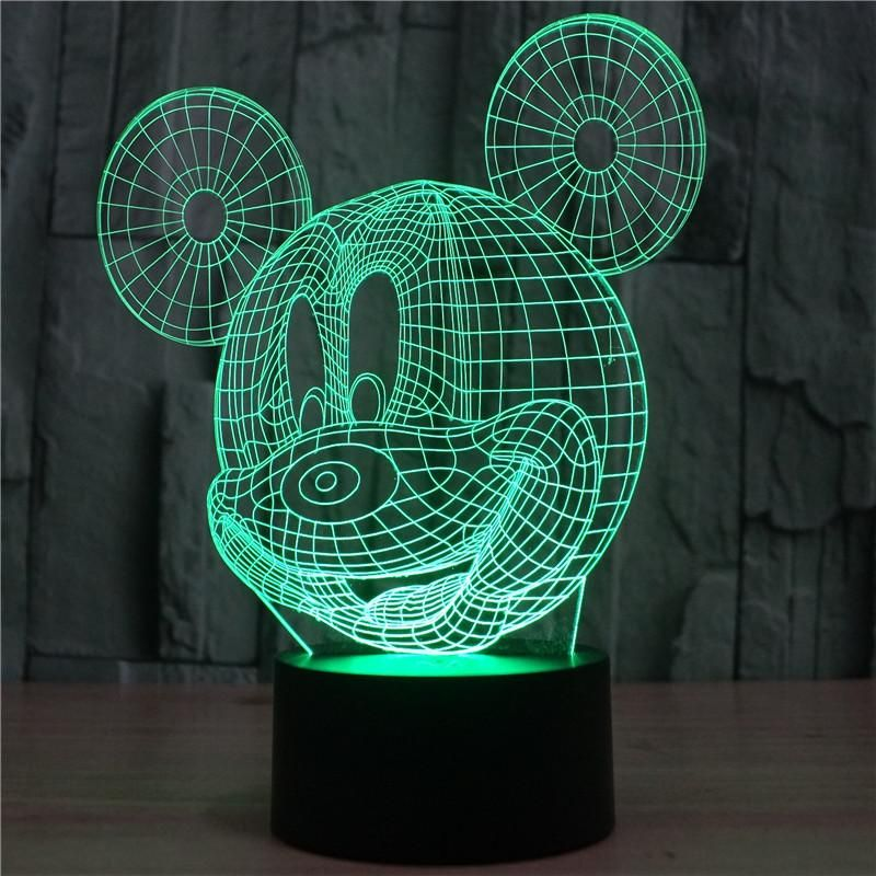 Mickey Mouse 3d Optical Illusion Lamp 3d Led Lamp 3d Optical Illusions Illusions