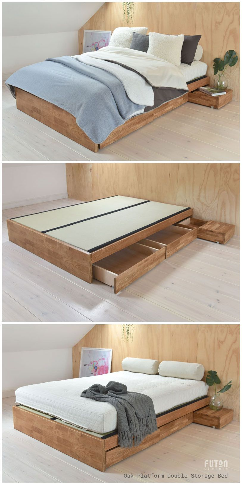 Oak Platform Double Storage Bed Double Bed With Storage Bed