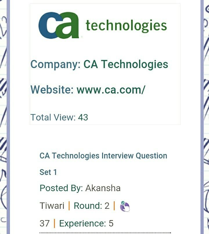 CA Technologies Interview Q\A covering each round in detail - interview question