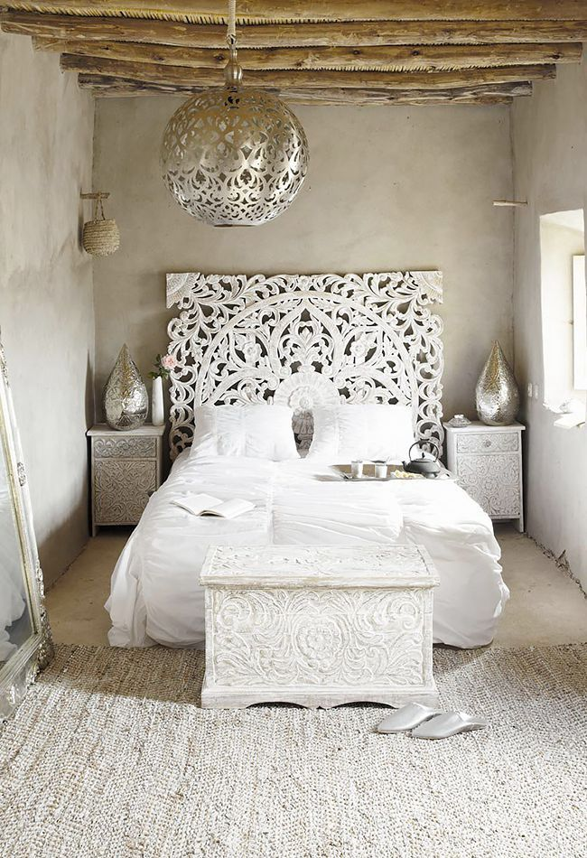All-white Moroccan bedroom inspiration with a carved treasure chest ...