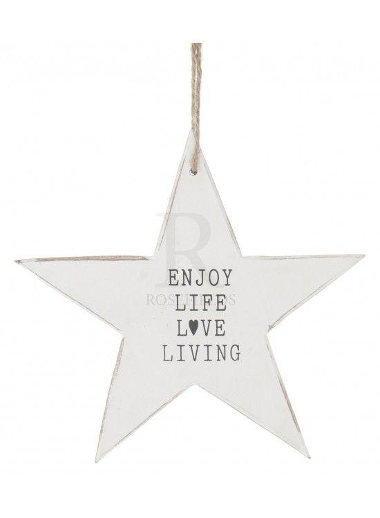 Hanging Star White Wooden Enjoy Life Love 195cm At Rosefieldscouk