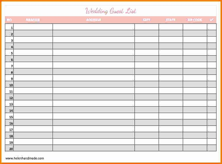 Wedding Guest List Templates Free Unique 30 Of Guest List Template Printable Blank Wedding Guest List Template Guest List Template Wedding Guest List