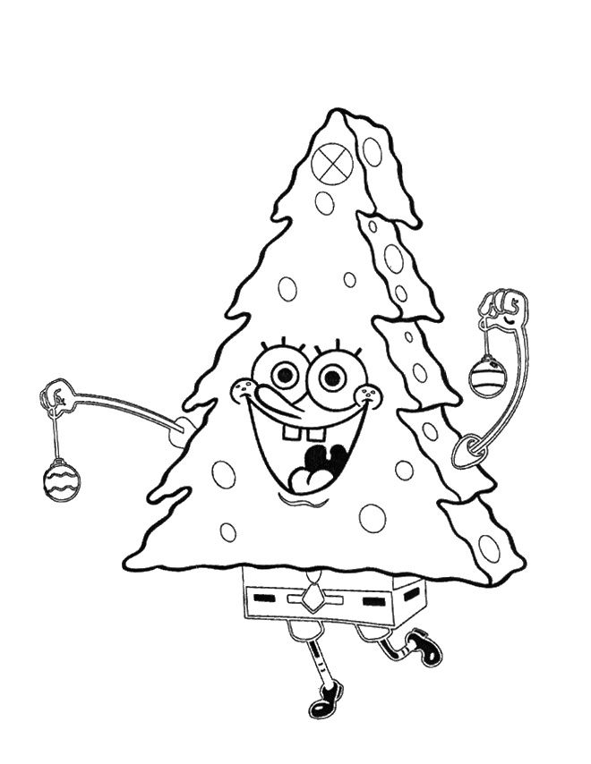 Spongebob Christmas Turned Into A Christmas Tree Coloring Pages Printable Christmas Coloring Pages Christmas Tree Coloring Page Christmas Coloring Pages