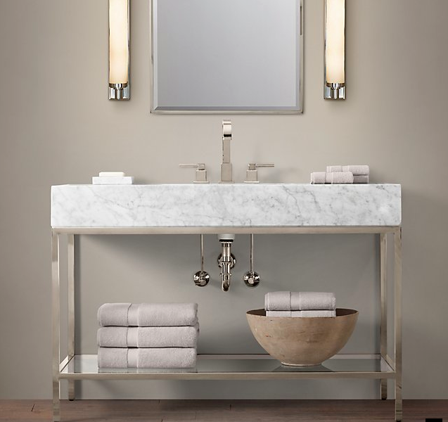 RH Hudson Extra Wide Wash Stand With Marble Top Base Comes In - Rh bathroom