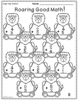 Touch Math Addition with Lions: Single Digit 0 to 5 only