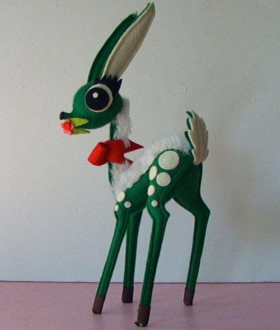 Vintage 1950s Christmas Green Felt Bambi Reindeer Stuffed Toy Etsy Vintage Christmas Candles Retro Christmas Vintage Christmas