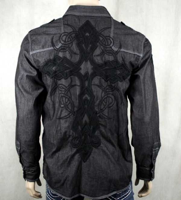 Johnny Was Textured Embroidery Boho Tunic Long Button Down Shirt Black ...